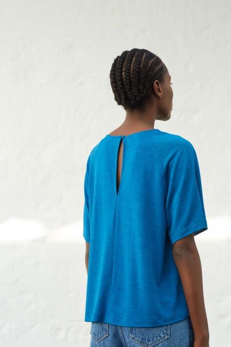 ADAGIO bleu - T-shirt en jersey flammé