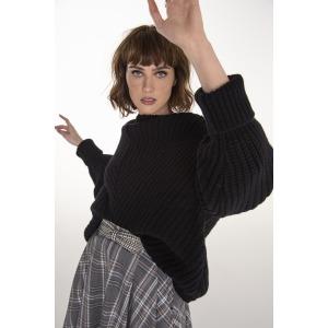 HUSKY noir - Pull oversize en laine