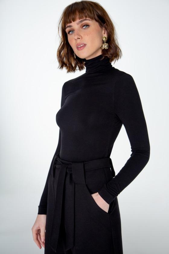 PAPILLON noir - T-shirt col roulé manches longues
