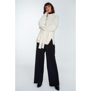 Turtleneck sweater with a wool belt HAVANA bright white