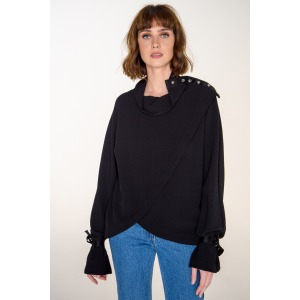 Button-down collar asymetrical blouse CRISTAL black