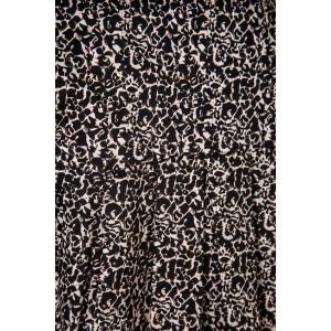 Long sleeves V-neck printed cotton tunic JUMBO black