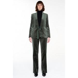 Wide-leg velvet trousers MAMBA green