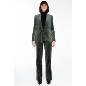 Wide-leg velvet trousers MAMBA green