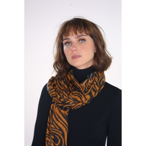 PAOLI camel - Printed modal and silk stole size 68x210cm
