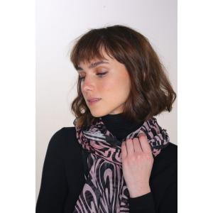 PAOLI rose - Etole en modal et soie imprimée 68 x 210