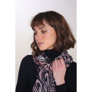 PAOLI pink - Printed modal and silk stole size 68x210cm