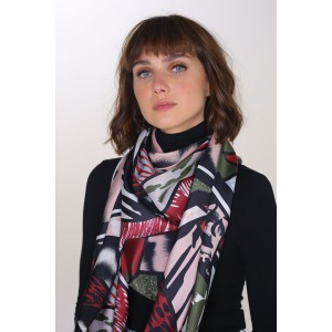 REJANE red - 130x130 printed silk square scarf