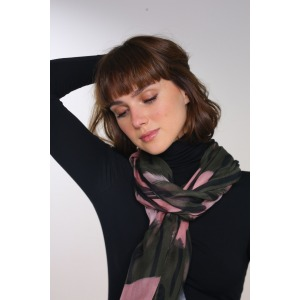 KAOLA green - 70x210 printed modal and silk stole