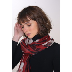KAOLA red - 70x210 printed modal and silk stole