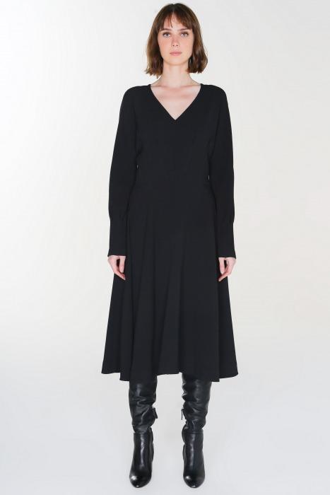 LHASSA noir - Robe taille marquée manches longues