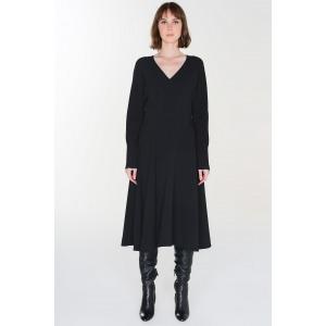 LHASSA black - Long sleeves waist dress