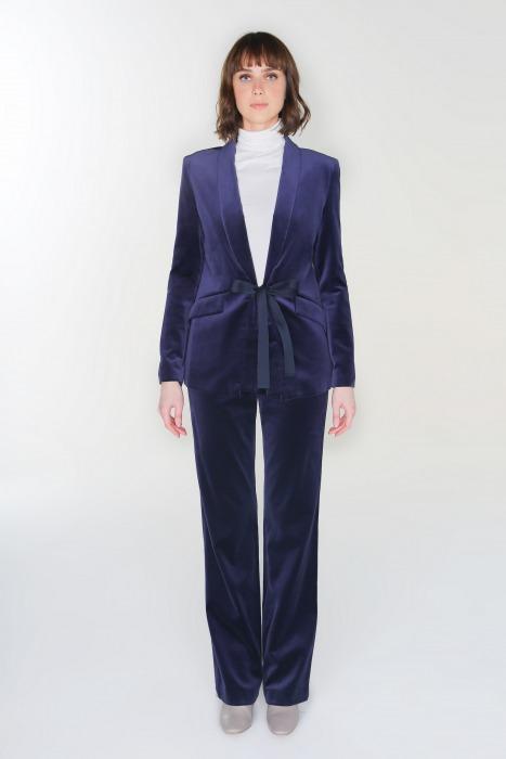 Wide-leg velvet trousers MAMBA blue