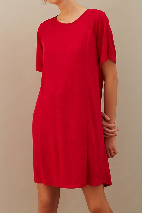 AMANDE rouge - Robe en jersey flammé
