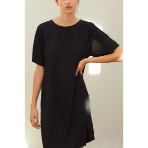 AMANDE noire - Robe en jersey flammé