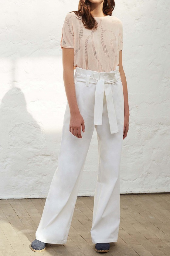 TELL white - Short sleeves fine knit sweater