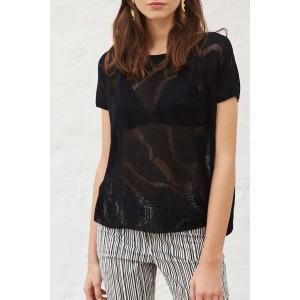 TELL blanc - Short sleeves fine knit sweater