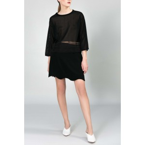 Large sleeves short knitted sweater FOLIO