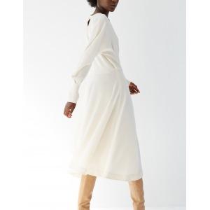 LHASSA beige - Robe taille marquée manches longues