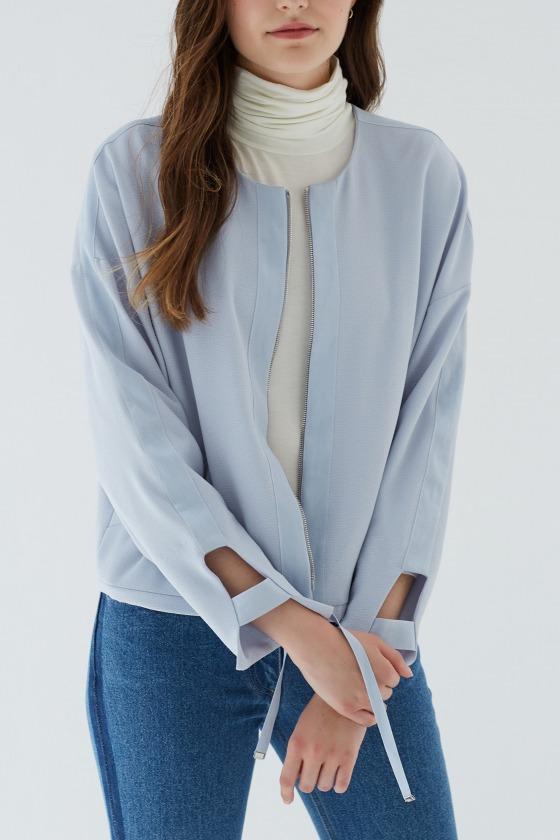 Round neckline short jacket LAURI bluish grey