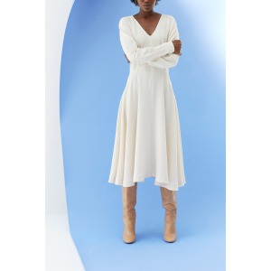 LHASSA beige - Robe taille marquée manches longues