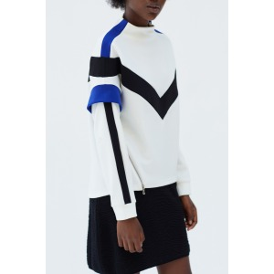 JET white - Sporty style sweatshirt with cutwork