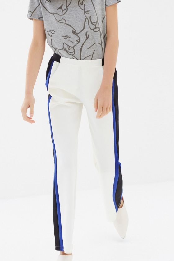 JACKY white - Sporty style trousers with stripes on the sides
