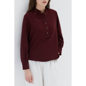 MELIES red - Shirt with Mao collar