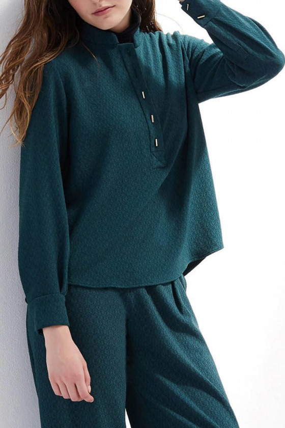 MELIES green - Mao collar shirt