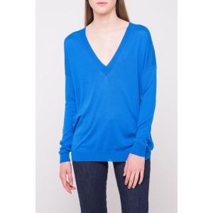 Sweater fine knit deep v -neck GARNETT blue ceruleen