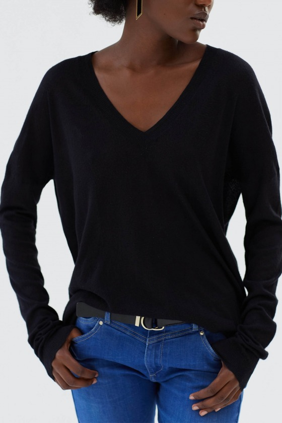 GARNETT noir - Sweater fine knit deep V -neck