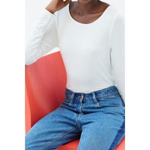 PANDA blanc - T-shirt col rond manches longues