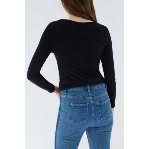 PANDA noir - T-shirt col rond manches longues