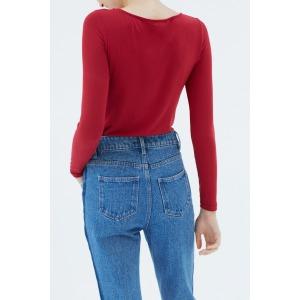 PANDA red - Long sleeves round neckline t-shirt