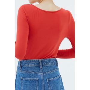 PANDA rouge vif - T-shirt col rond manches longues