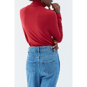 PAPILLON rouge - T-shirt col roulé manches longues