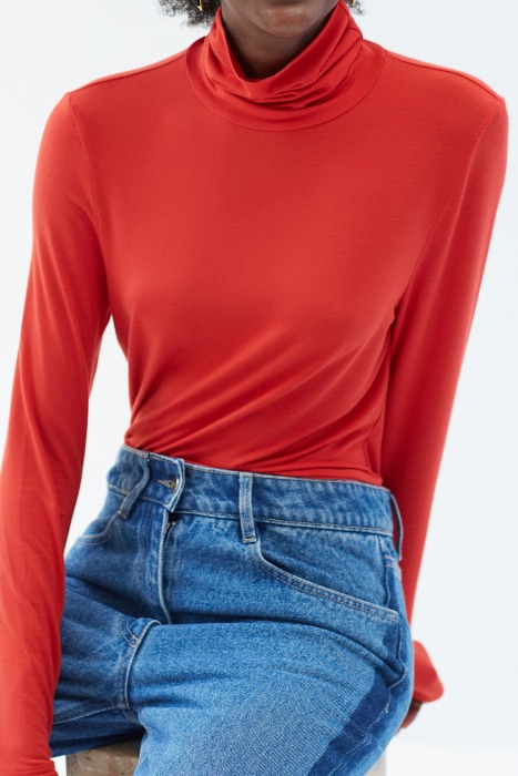 PAPILLON bright red - Long sleeves turtleneck t-shirt