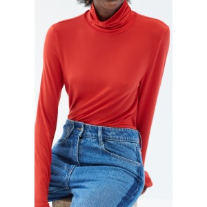 PAPILLON rouge vif - T-shirt col roulé manches longues