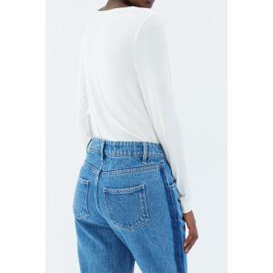 PINSON blanc - T-shirt col V manches longues