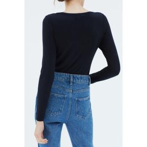 PINSON noir - T-shirt col V manches longues