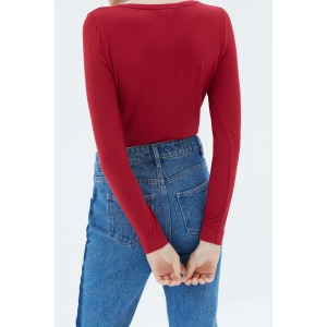 PINSON red - Long sleeves V-neck t-shirt