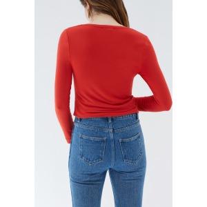 PINSON rouge vif - T-shirt col V manches longues