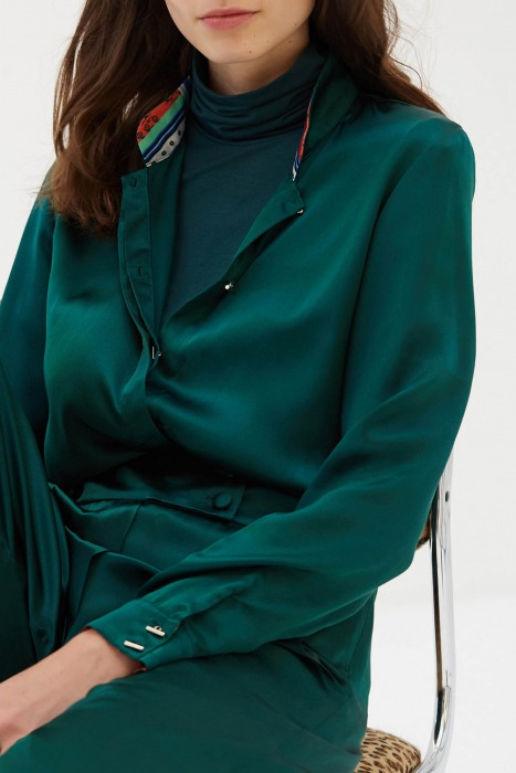 BECKER green - Silk shirt