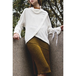 TREMA camel - Cotton and wool tube skirt with a slit up the side