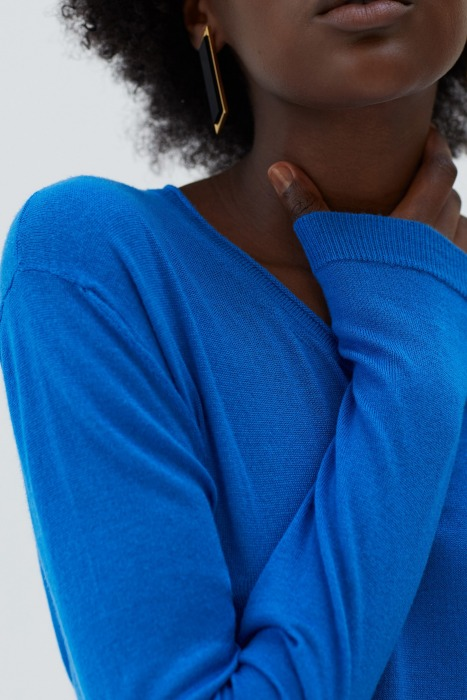 GIRAULT bleu - Pull en maille fine col rond