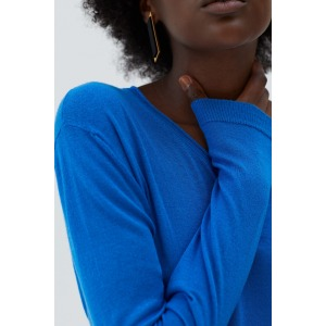 GIRAULT bleu - Pull en maille fine col rond