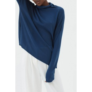 GATTI bleu Prusse - fine knit with high collar