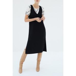 LOUISA noir - Robe midi sans manches col V