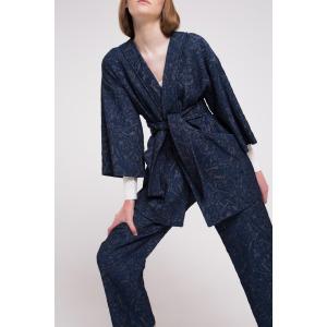 CAT blue - Cotton jacquard kimono style jacket