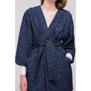 CAT bleu - Veste ample façon kimono en jacquard coton